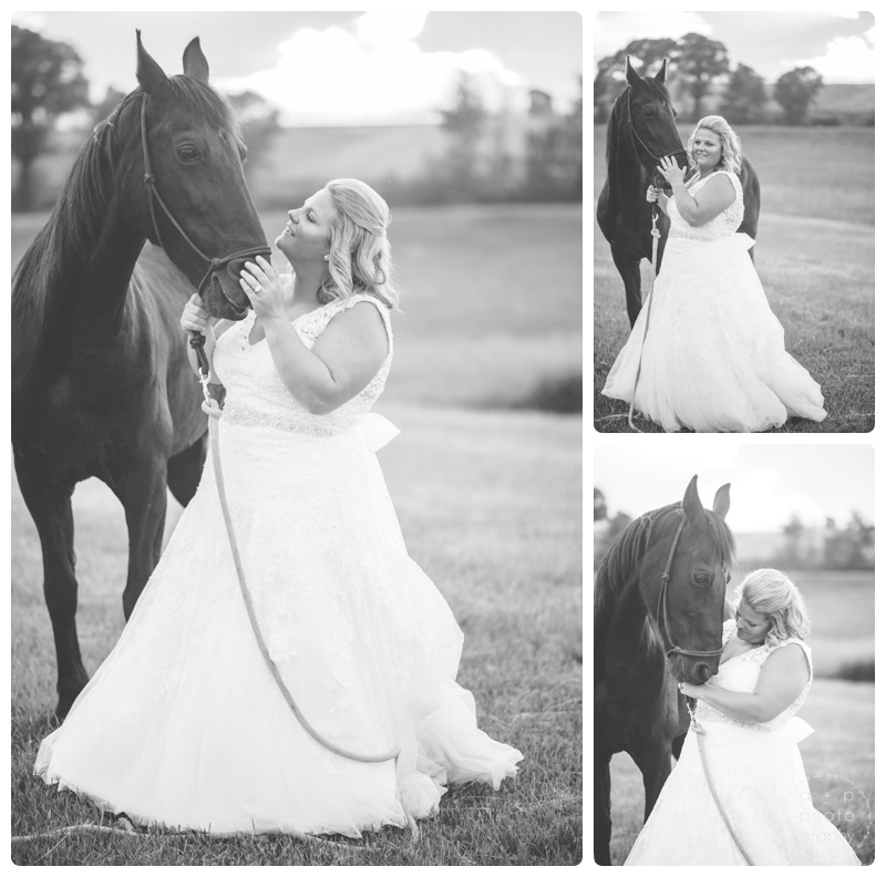 A beautiful bride and her beautiful horse.