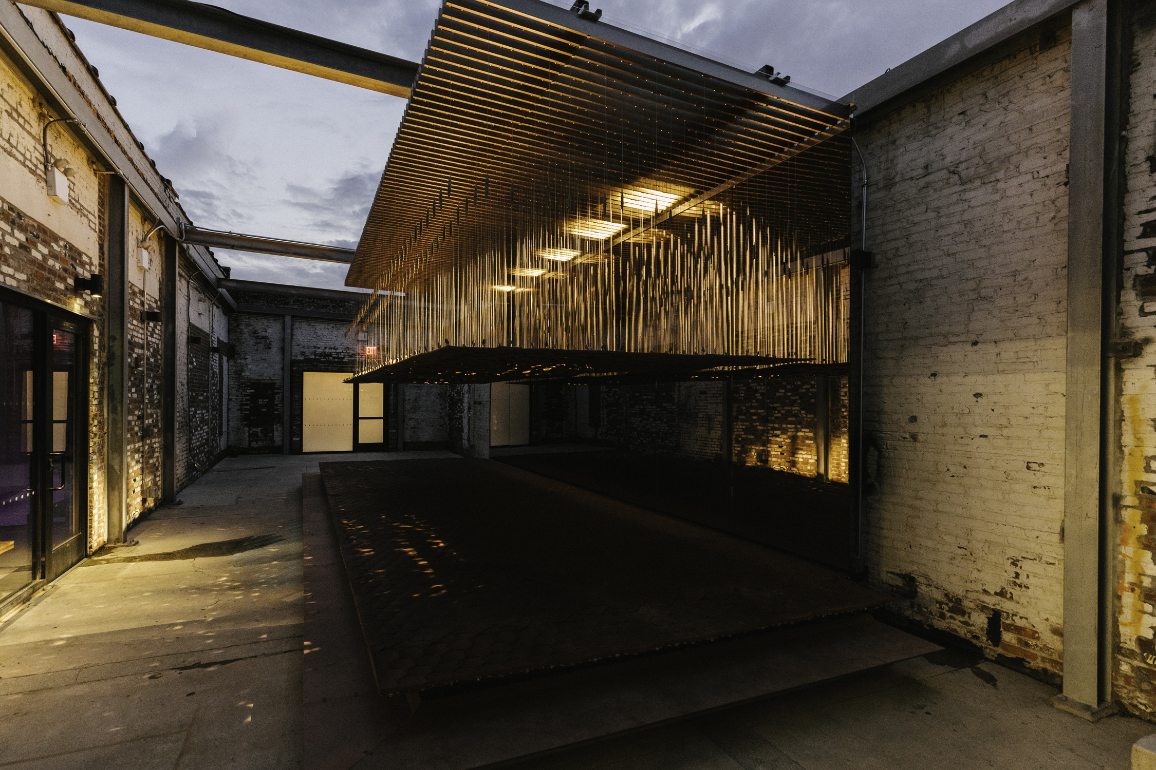 Night time image of Urban Imprint installation at A/D/O by MINI