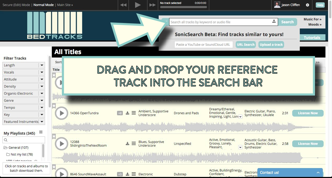 Finding music for video with Sonic Search