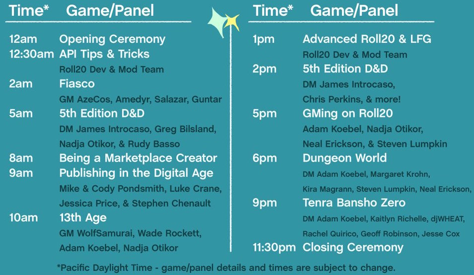 Roll20CON's 24-Hour Streaming Schedule