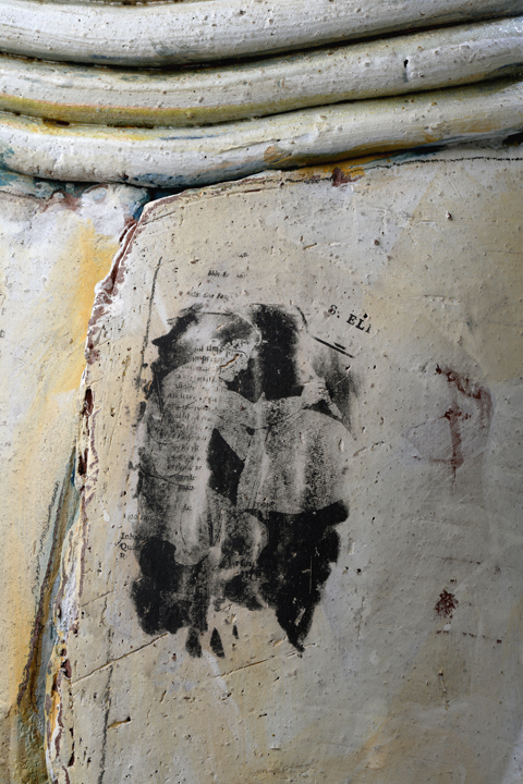 "(Detail) Large Pot w/Screened Image, 28""x18"" diameter, 2014"