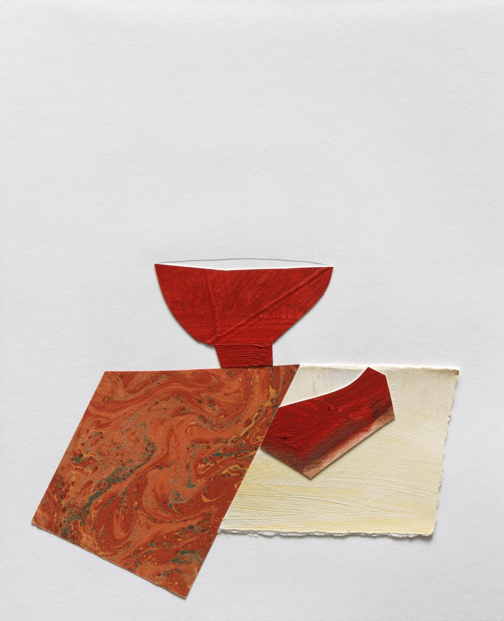 """Teabowl w Marbled Napkin, Mix Media on Paper, 10""""x11"""", 2009"""