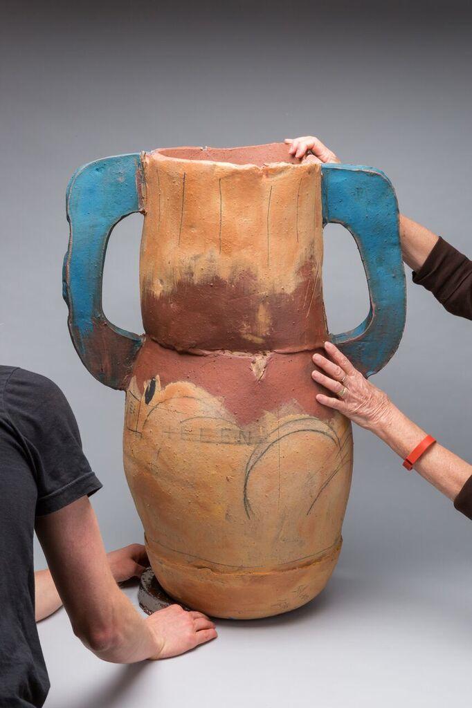 """Trophy: Helen (Frankenthaler), 34""""x23"""" diameter, 2016 (with hands)"""
