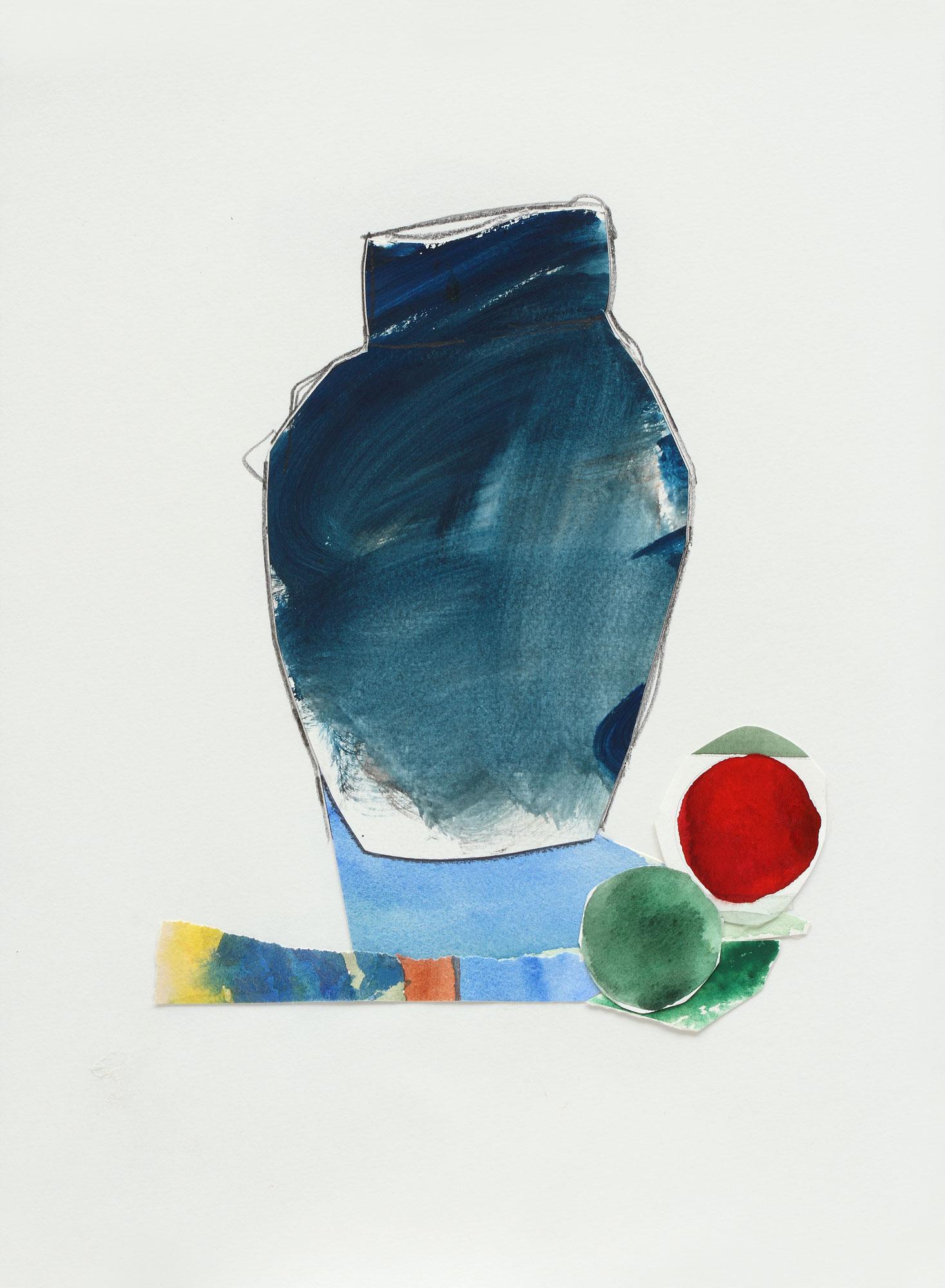 """Blue Vase with Fruit, 9"""" x 13"""", 2017"""