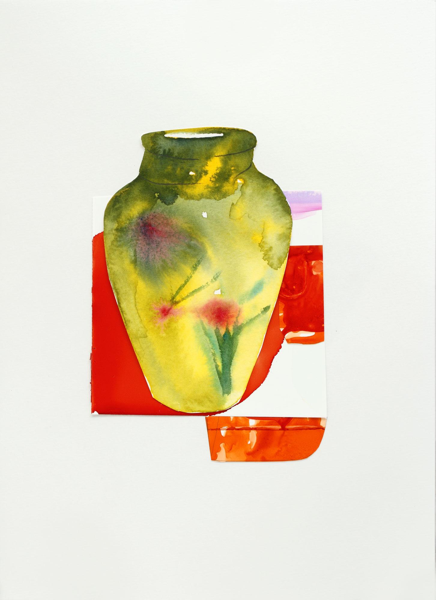 "Yellow Vase with Tulips, 9"" x 13"", 2017"