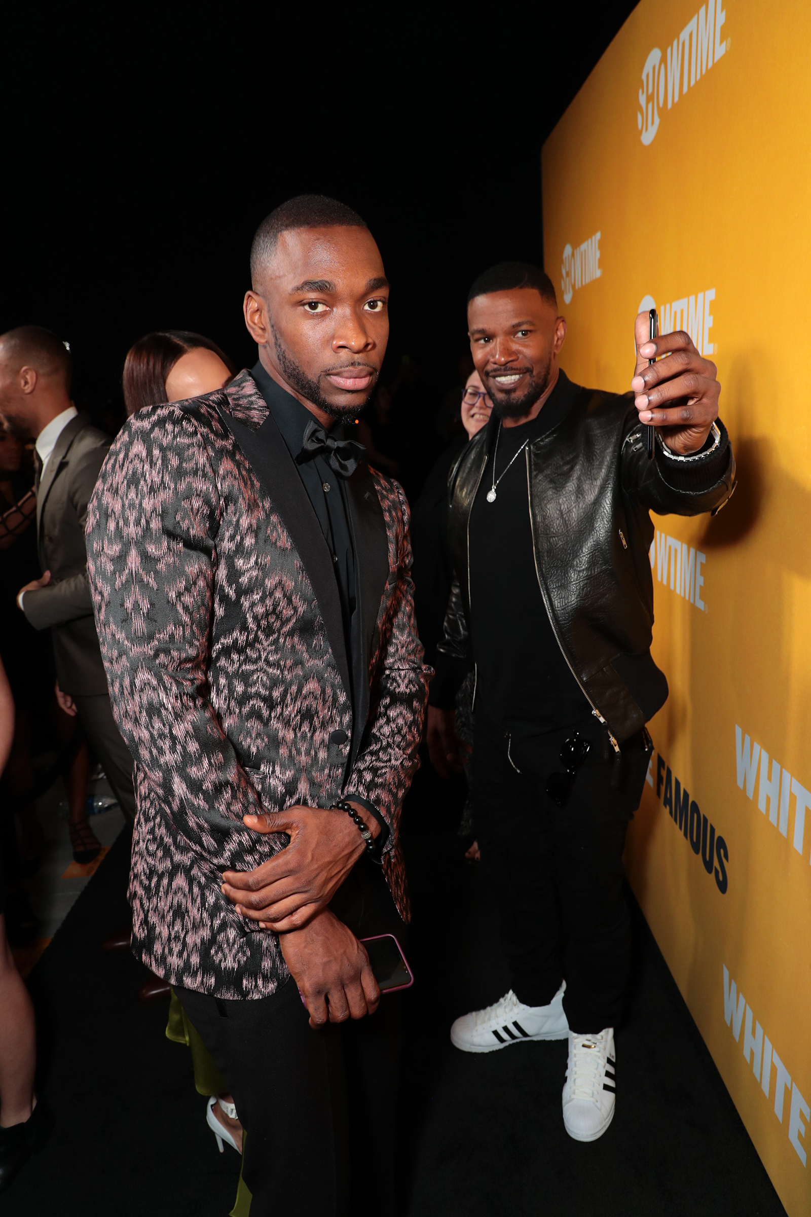 "Jay Pharoah with ""White Famous"" Executive Producer Jamie Foxx at L.A. Premere. Photo Courtesy of Showtime"