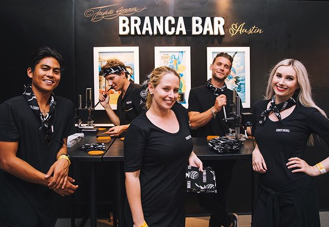 #brancabar repping team bandanas and slinging custom coasters at @hotluckfest in ATX :: @fernetbranca 📸 by @flavorgroup