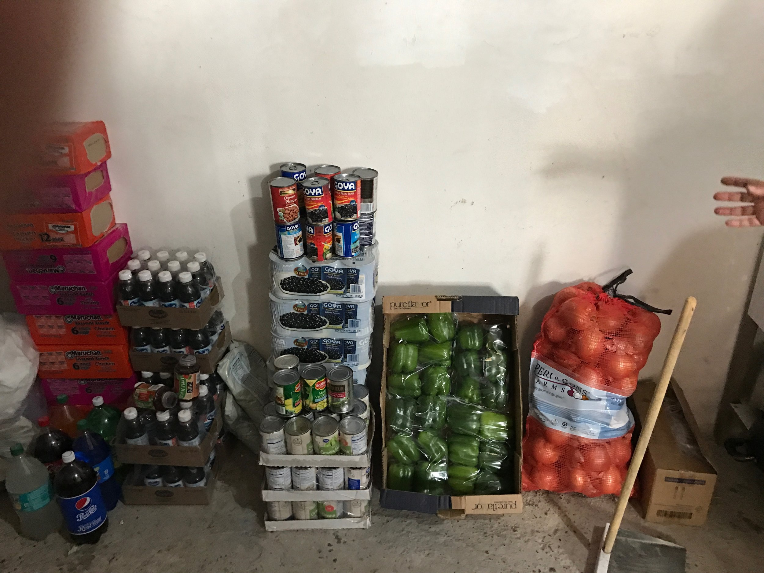 Food stock at the Baptist Church in Nuevo Laredo. The church has provided its' for cooking meals feeding 300 persons or so. Currently, one meal per day is provided. Iglesia Metodista El Divino Salvador in Nuevo Laredo is now in place to provide cooking and feeding space.