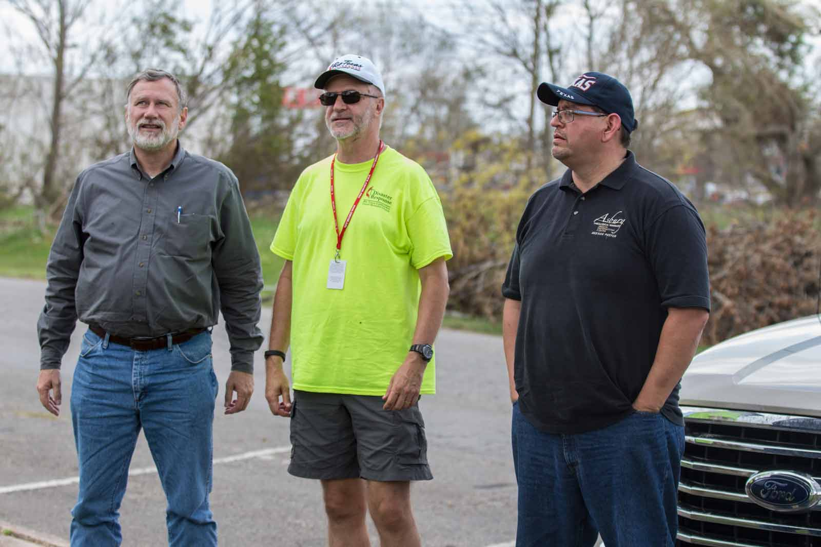 Robert Schnase, Bishop of the Rio Texas Annual Conference, surveys damage in Refugio, Texas with Rev. Jason Fry, pastor of Grace UMC, Corpus Christi; and Rev. Robert Lopez, Coastal Bend District Superintendent.