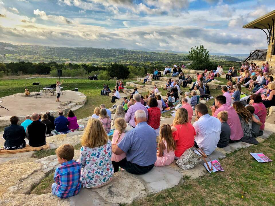 Members of Bee Creek UMC, Spicewood celebrate Easter in the church's outdoor amphitheater.