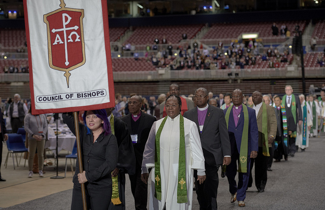 Bishops process into worship on  February 24, 2019, at the Special Session of the General Conference of  The United Methodist Church. Photo by Paul  Jeffrey for United Methodist News Service.
