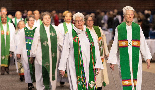 United  Methodist bishops process into the opening worship service for the 2019  United Methodist General Conference in St. Louis. Photo by Mike DuBose,  UMNS.