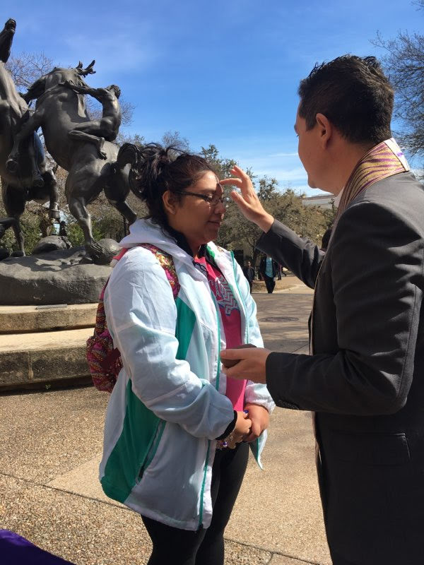 """Students receive """"Ashes on the Quad"""" at Texas State Photo Credit: Becca Gray"""