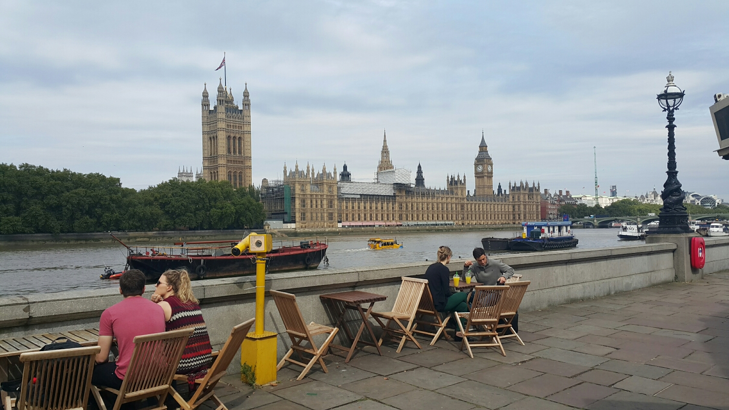 My first stop for a hot chocolate and a view over the Thames to the houses of Parliament and big Ben