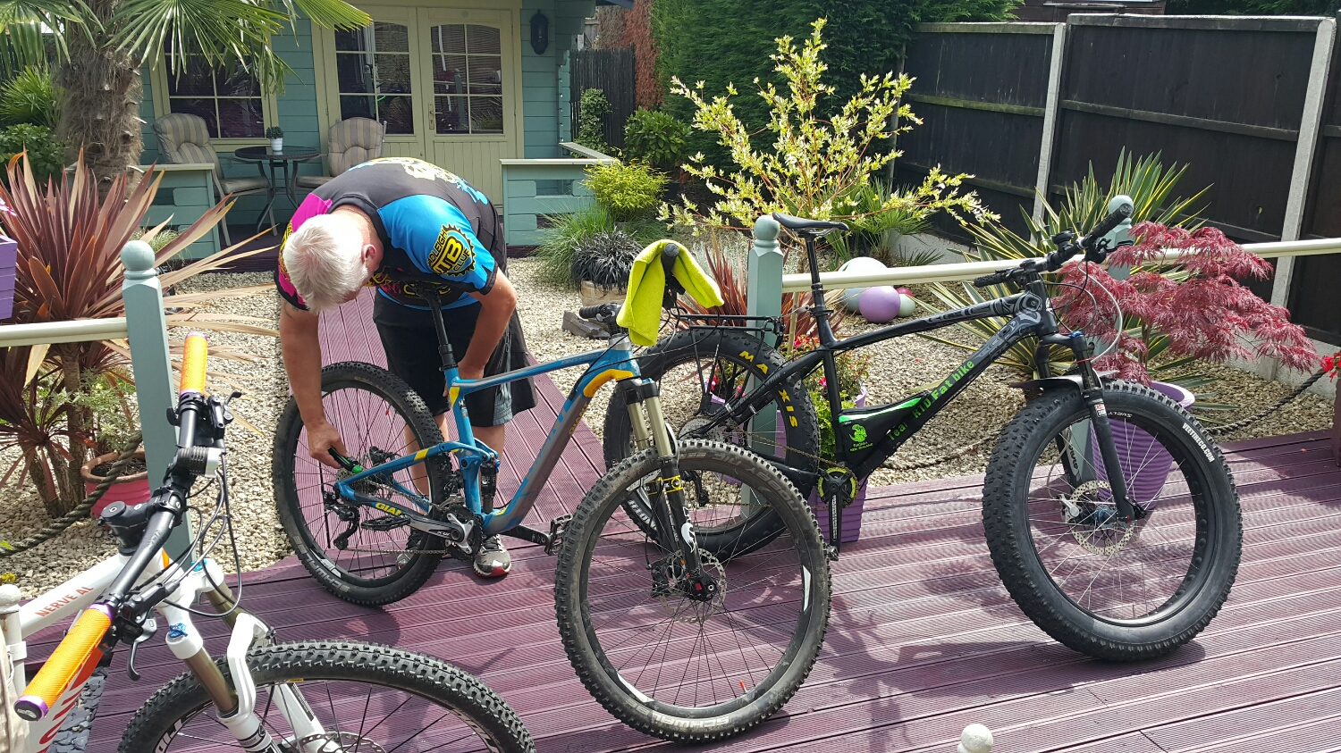 Rob getting the bikes ready for a ride over to meet Michael Travers at the 2012 Olympic course.