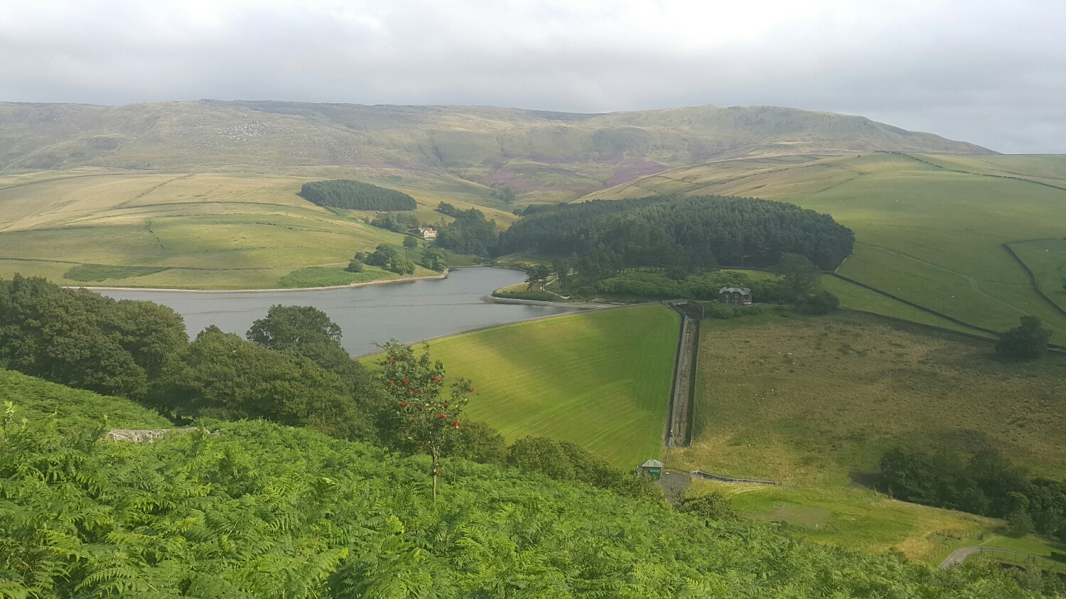 The Peaks is a large water catchment area. This is a local dam. Amazing stone house in the back ground .