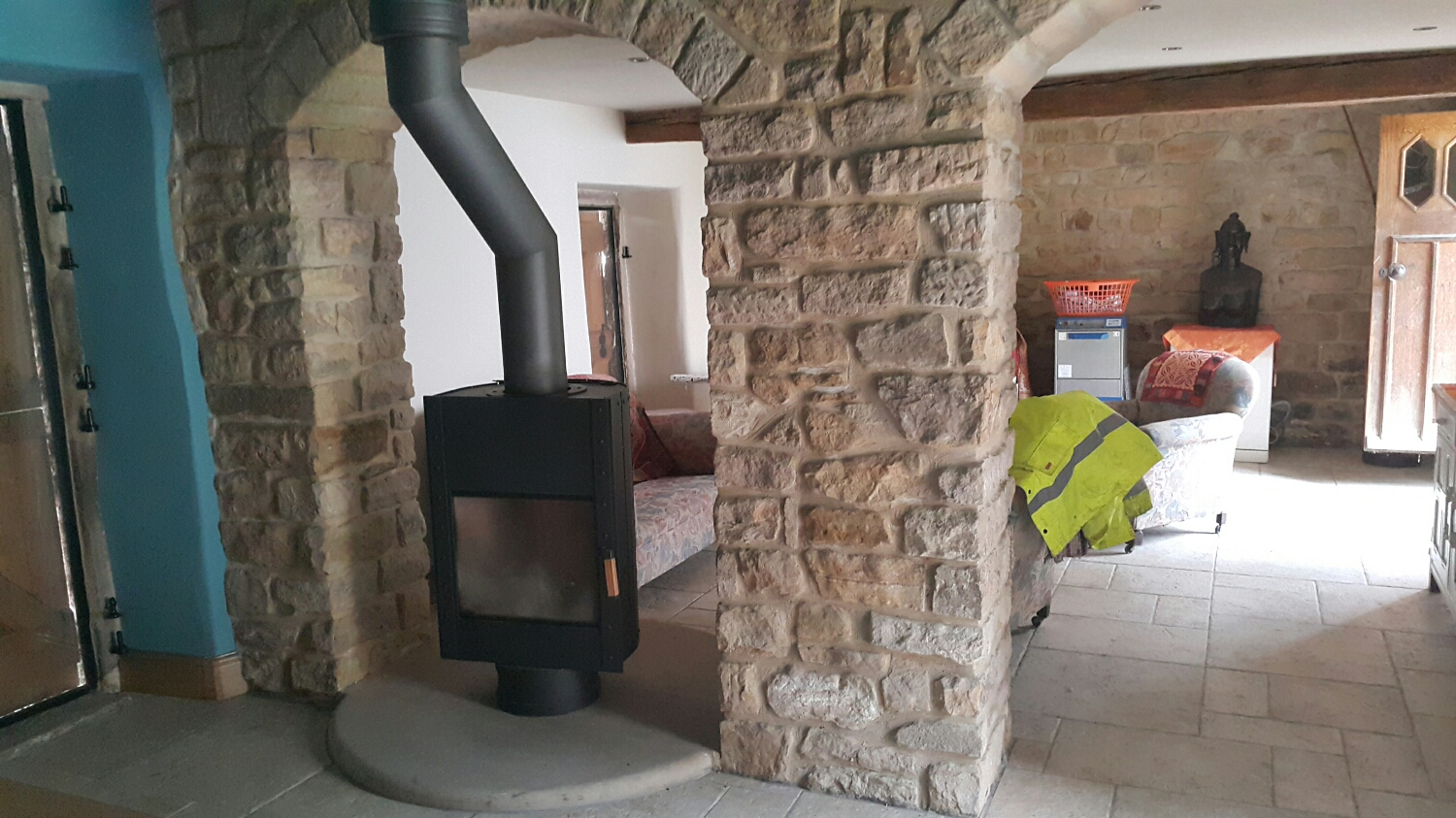 Cool as fire in the house. It pivots around so you can have the fire box towards you on either side of the room.
