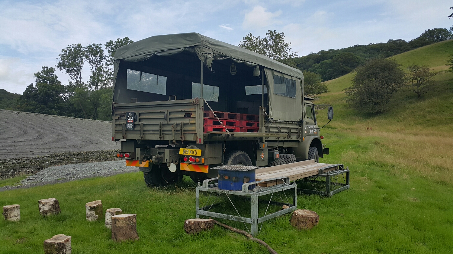 This is one of the camping spots on the Farm. Lucky for us the weather turned and we ended up inside In one of the luxurious lodges.