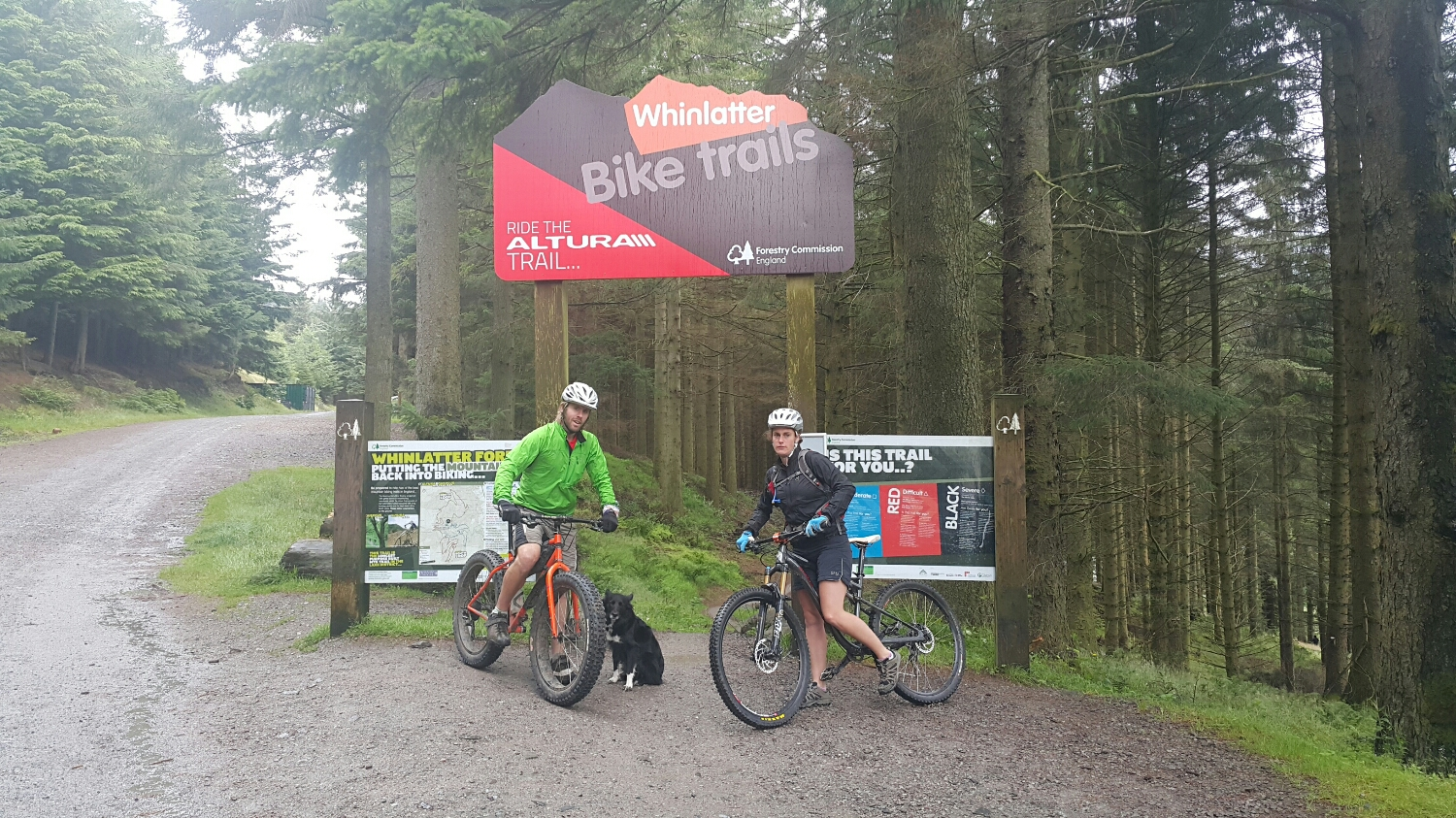 Pete and his friend Christina and Keela the dog about to start a lap of the trail park in Whinlatter.