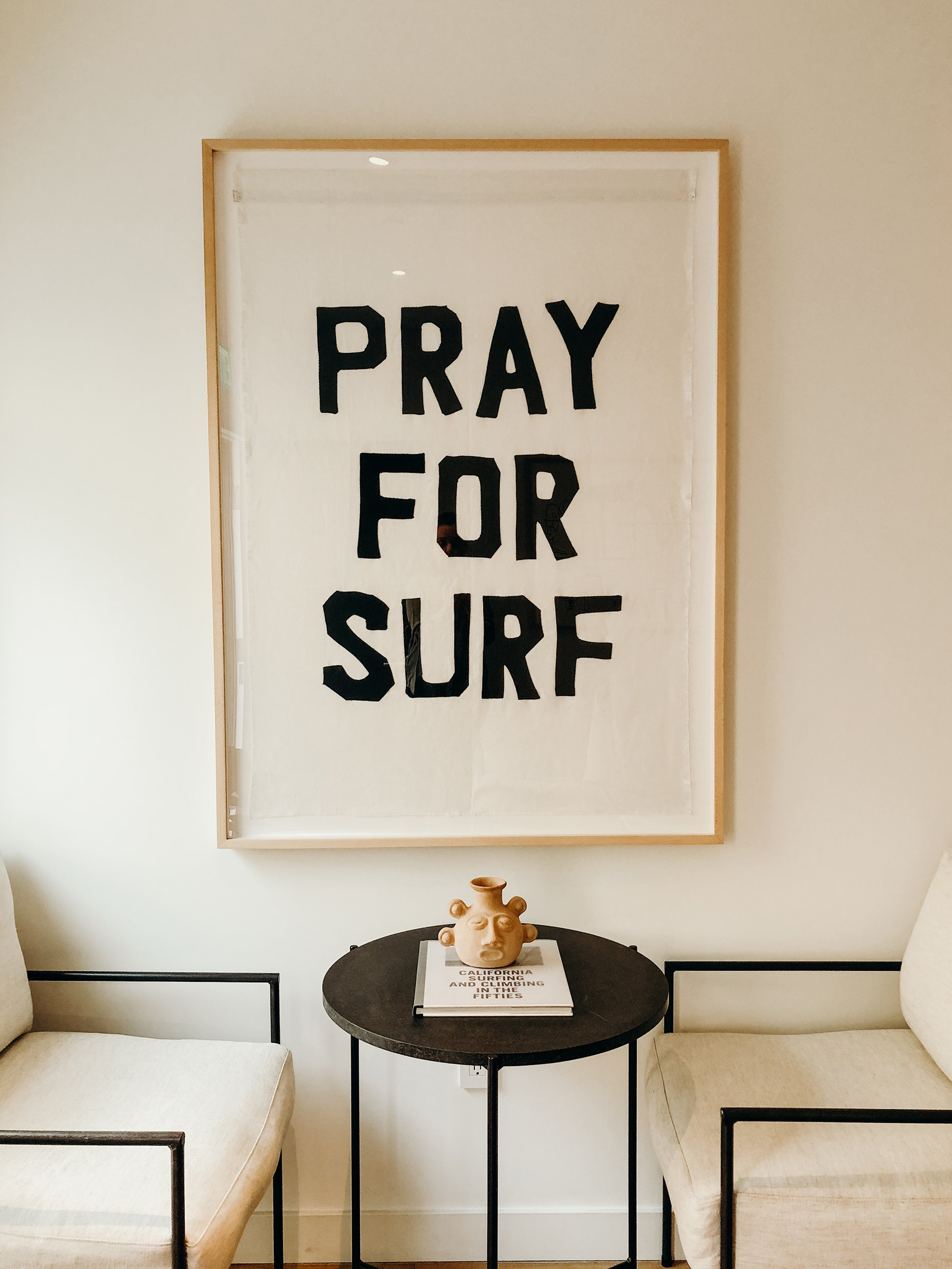 Pray for Surf  featured at The Surfrider Hotel, Malibu, CA.