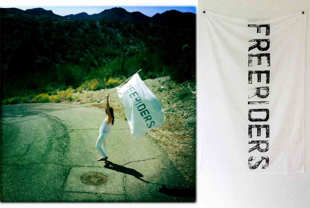 "Freeriders Flags  Linen on Linen & Ink on Silk 50""' x 35""  Collections: Shelter Half, Tappan Collective, The Surfrider Hotel  Totem to those individuals who exemplify what Hunter S. Thompson was talking about when he spoke of 'Mould Breaking Heroes; Living proof that the tyranny of the rat race is not yet final'. Inspired in part by an ex-San Francisco surfer who paddled around Kauai on a 9.0 surfboard, sleeps in a beach cave, and fishes his own food – and other like surfers and vanguards out there surfing/living for the love of life and true hedonic spirit.  It is completely my intention to directly participate in this philosophy, intently promote a freerider culture and illuminate that which already celebrates life beyond boundaries and to forge new experiences with that which does and does not yet exist."