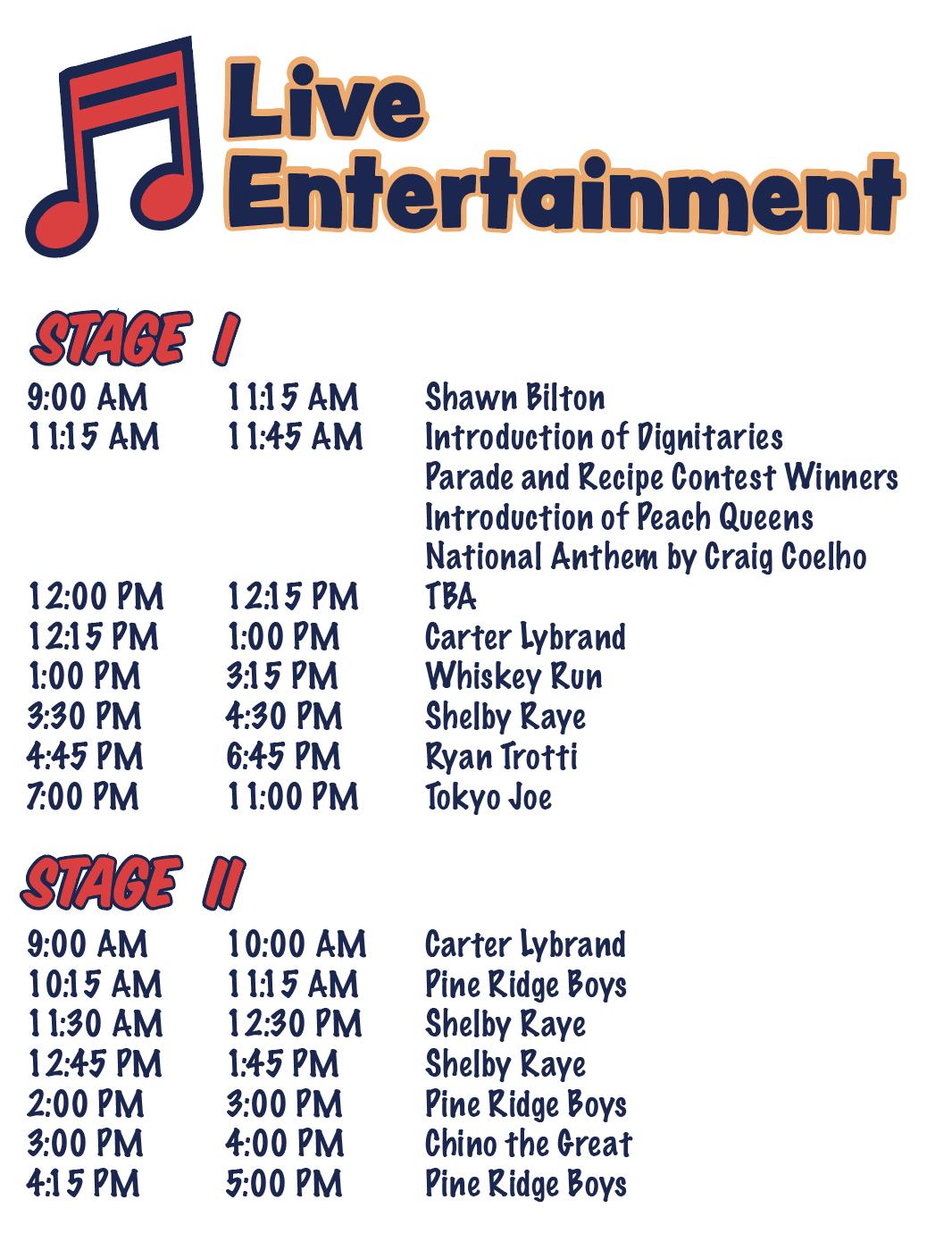 2019 Live Entertainment Lineup