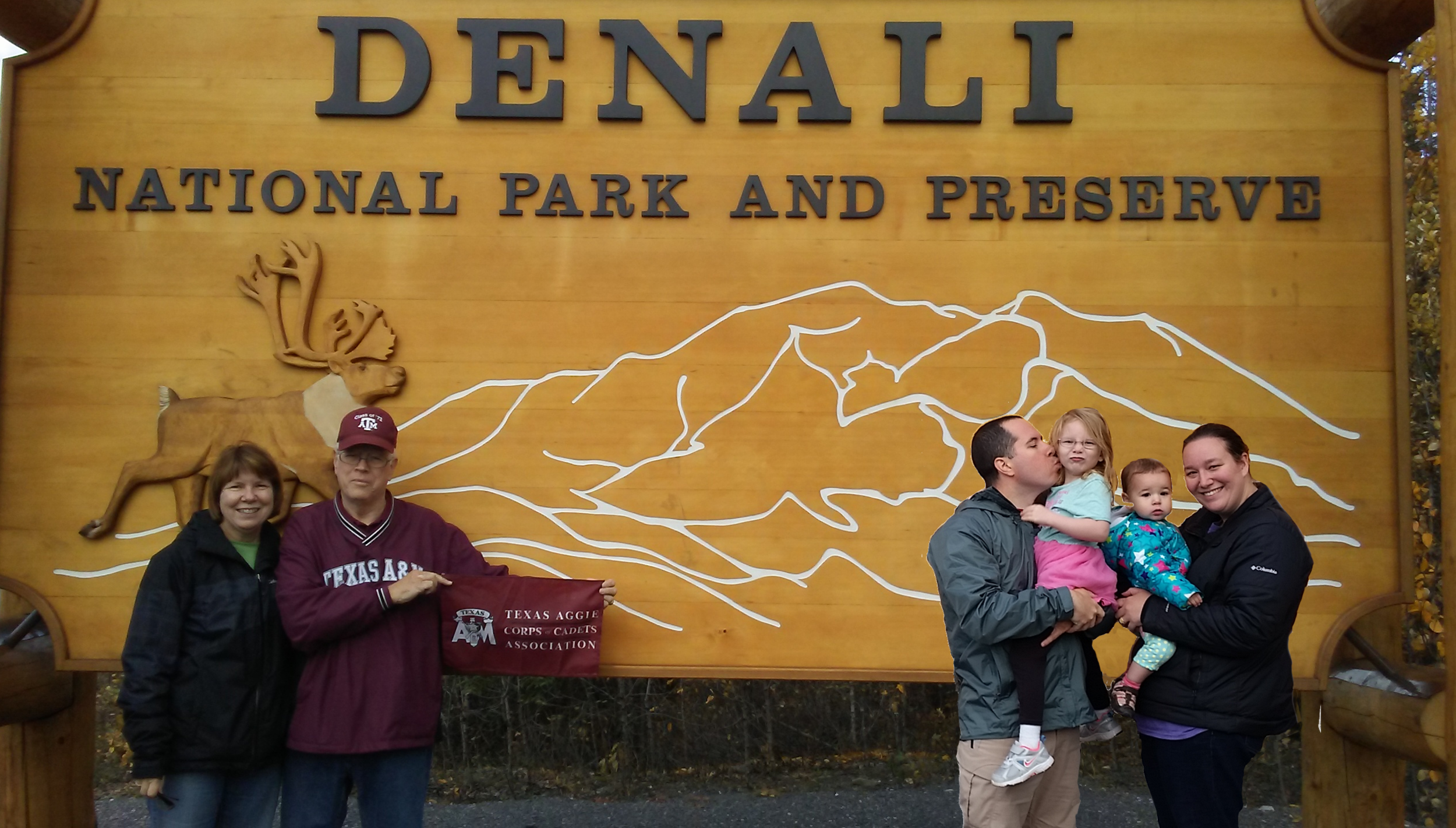 Dick Owen '72 and his wife Joan celebrated their 43rd anniversary at Denali National Park in central Alaska. Their son, SSgt Johnathan Owen, his wife Carol, and two granddaughters.png