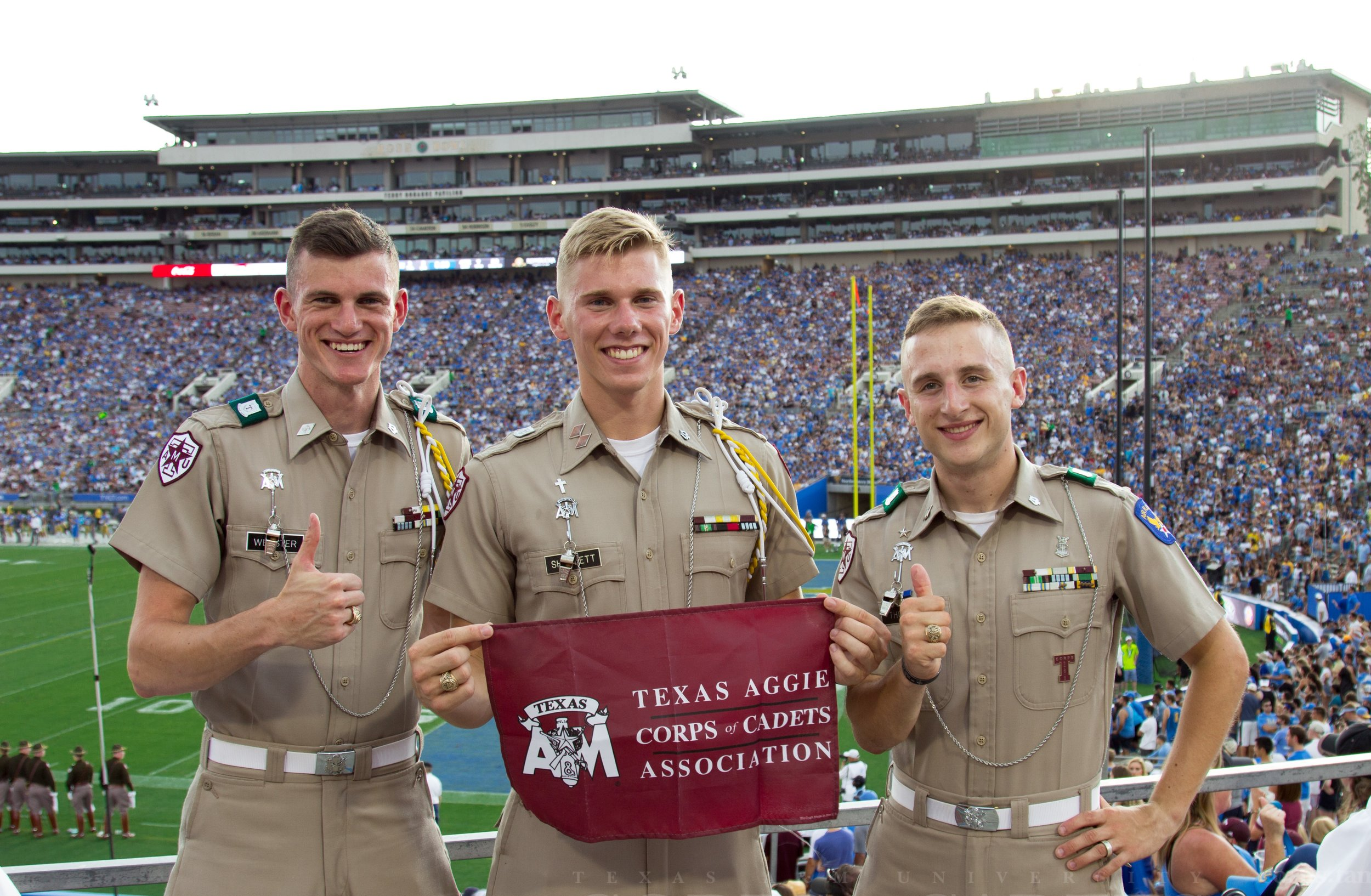 Fightin' Texas Aggie Band members at the A&M vs. UCLA football game at the Rose Bowl in Los Angeles.jpg