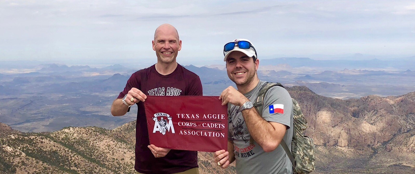 Tom Pool '96 and Mason Brooks '16 recently took a hiking trip to Big Bend National Park. They are standing at the top of Emory Peak, the highest mountain peak in Big Bend..jpg
