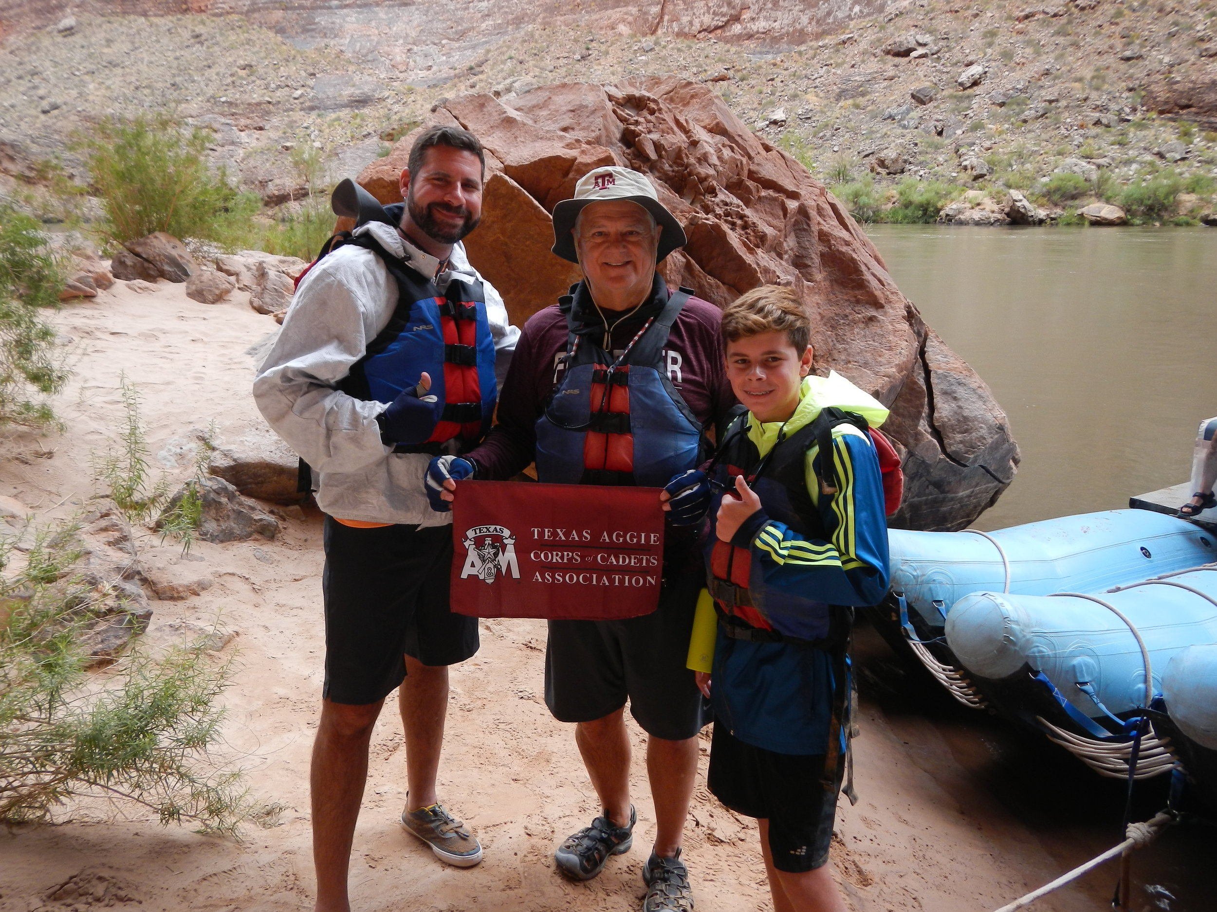 Doug Camp '72 with his son, Jarod '00 and Grandson Luke - Colorado River through the Grand Canyon, Summer 2019.JPG
