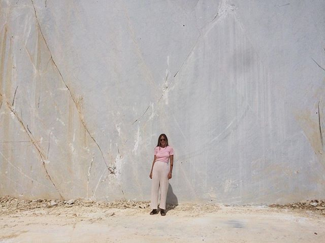 Muse and dear friend Emma wearing the shell pants in Carrara, Italy 🇮🇹 where Michelangelo sourced his marble ✨