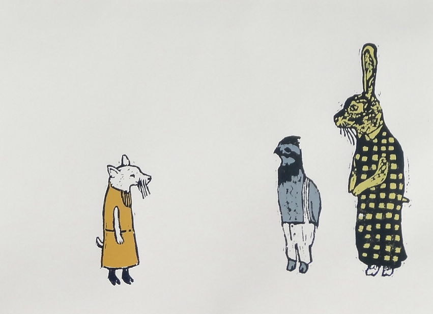 Characters II Series  woodcut and silkscreen 14 x 11 inches 2014 - present