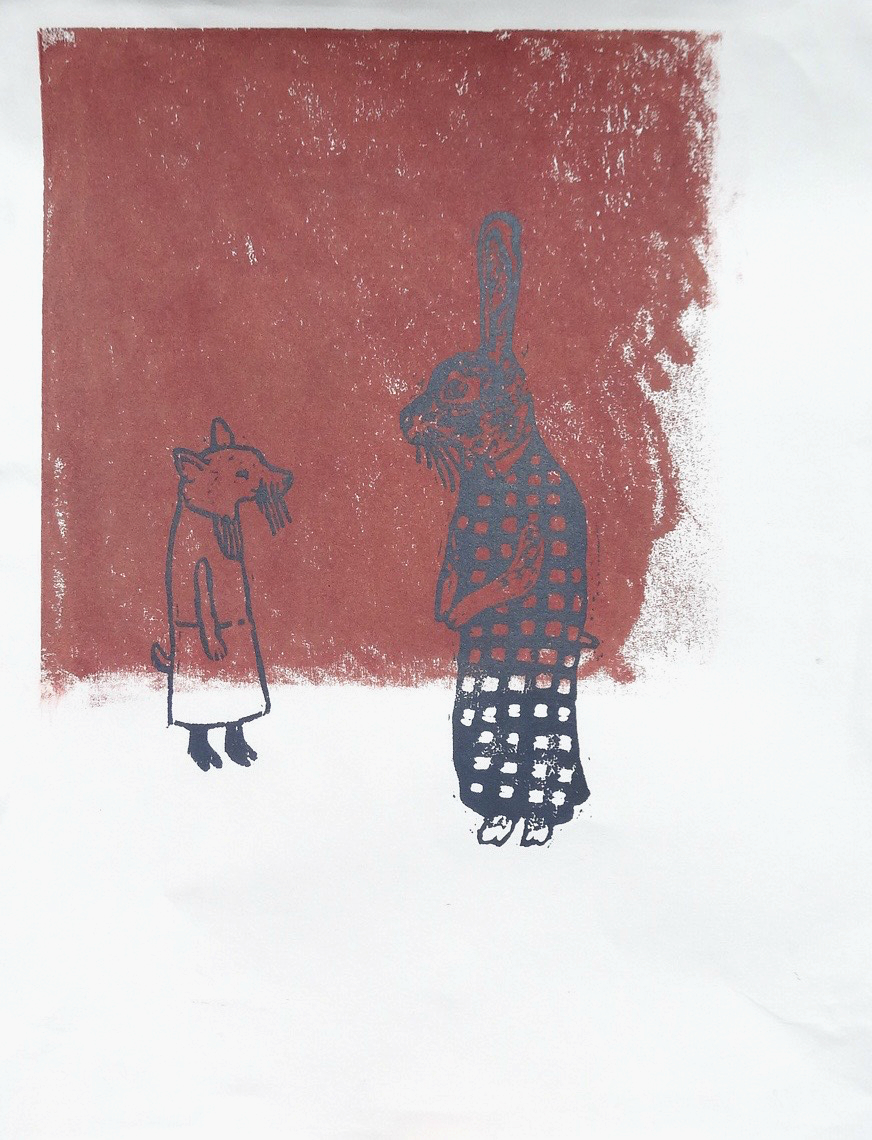 Characters II Series  woodcut and silkscreen 11 x 14 inches 2014 - present