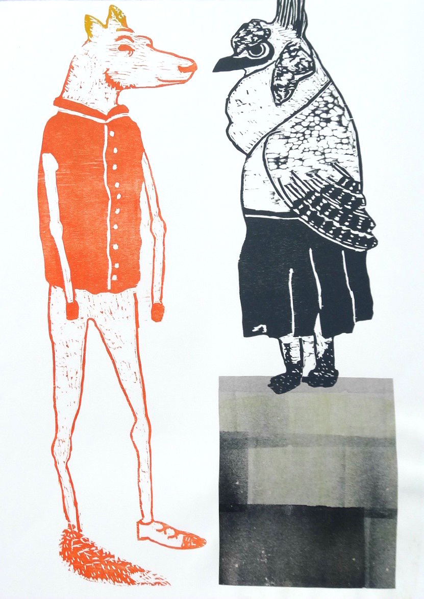 Characters I Series  woodcut and chine collé 22 x 30 inches 2012