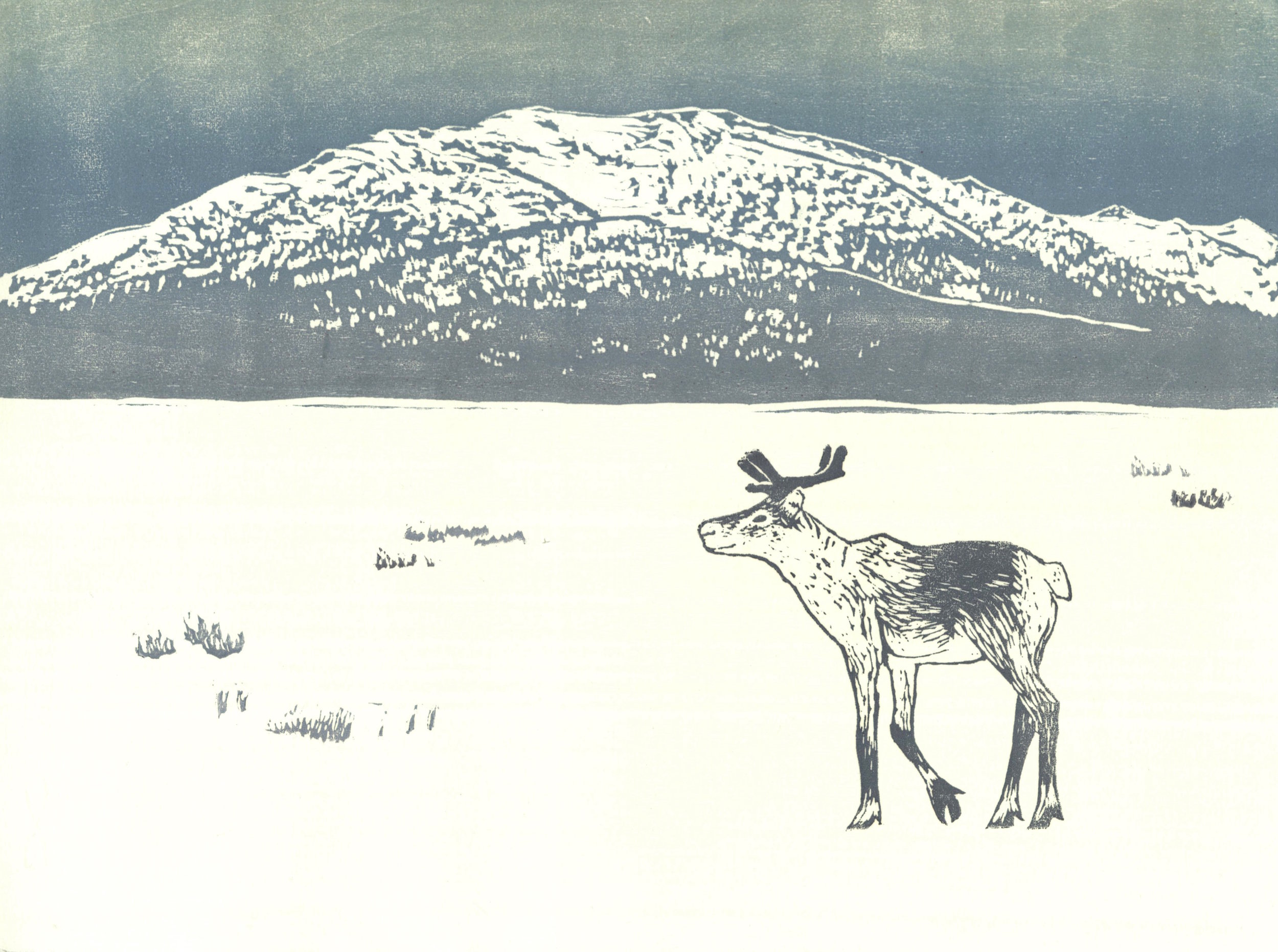 Caribou and Coldfoot Mountain  woodcut and linocut 12 x 9 inches 2016