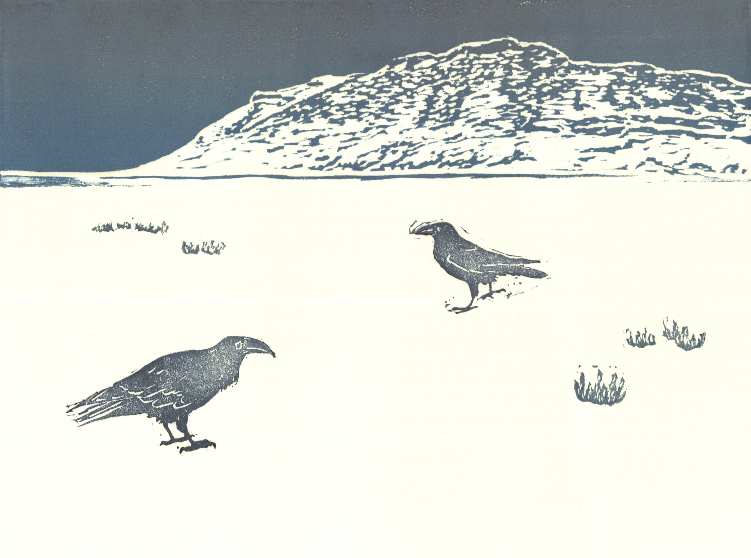 Ravens and Slope Mountain  woodcut and linocut 10 x 8 inches 2016