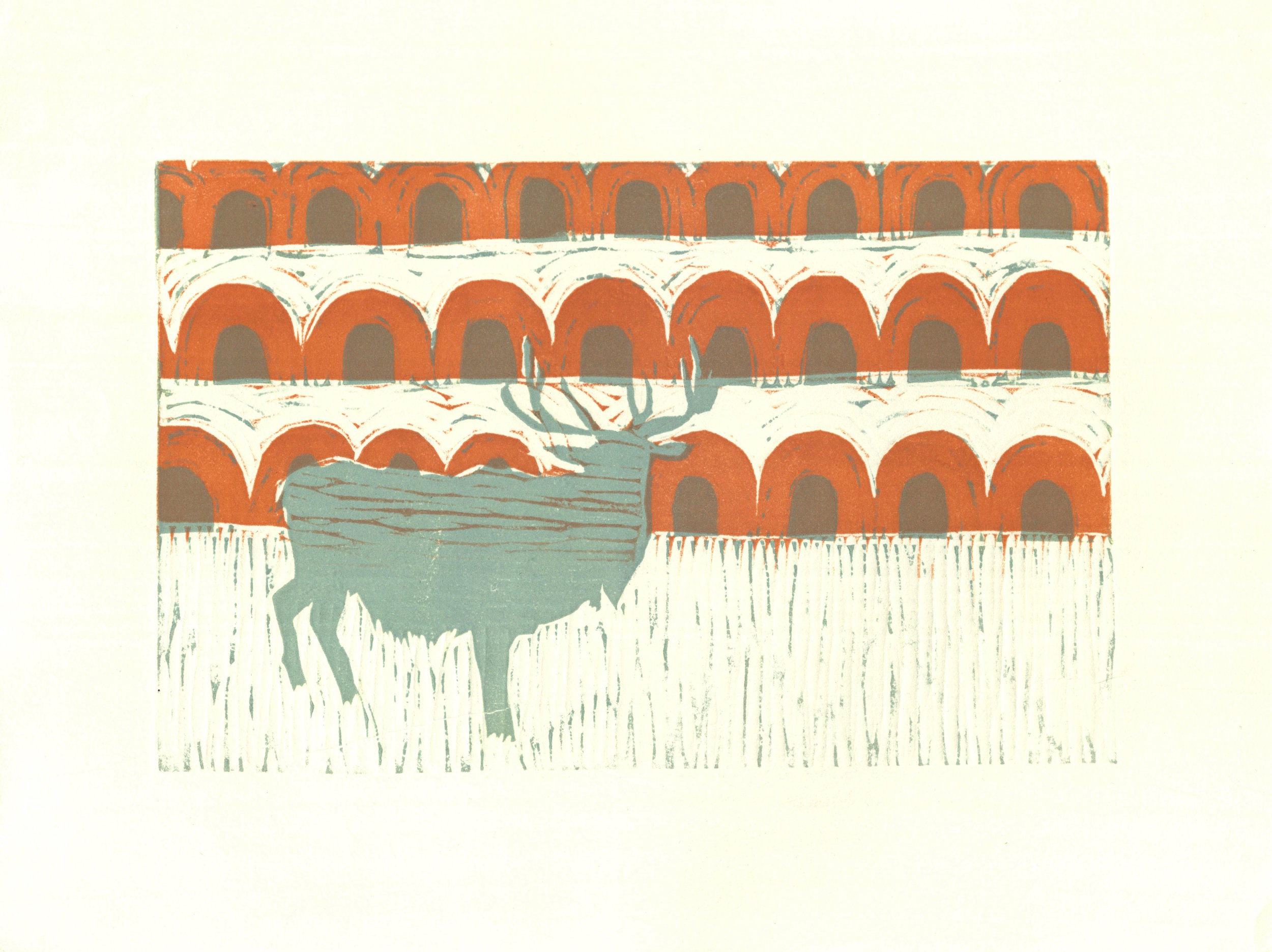 Oaxacan Elk  woodcut 14.5 x 10.75 inches 2015