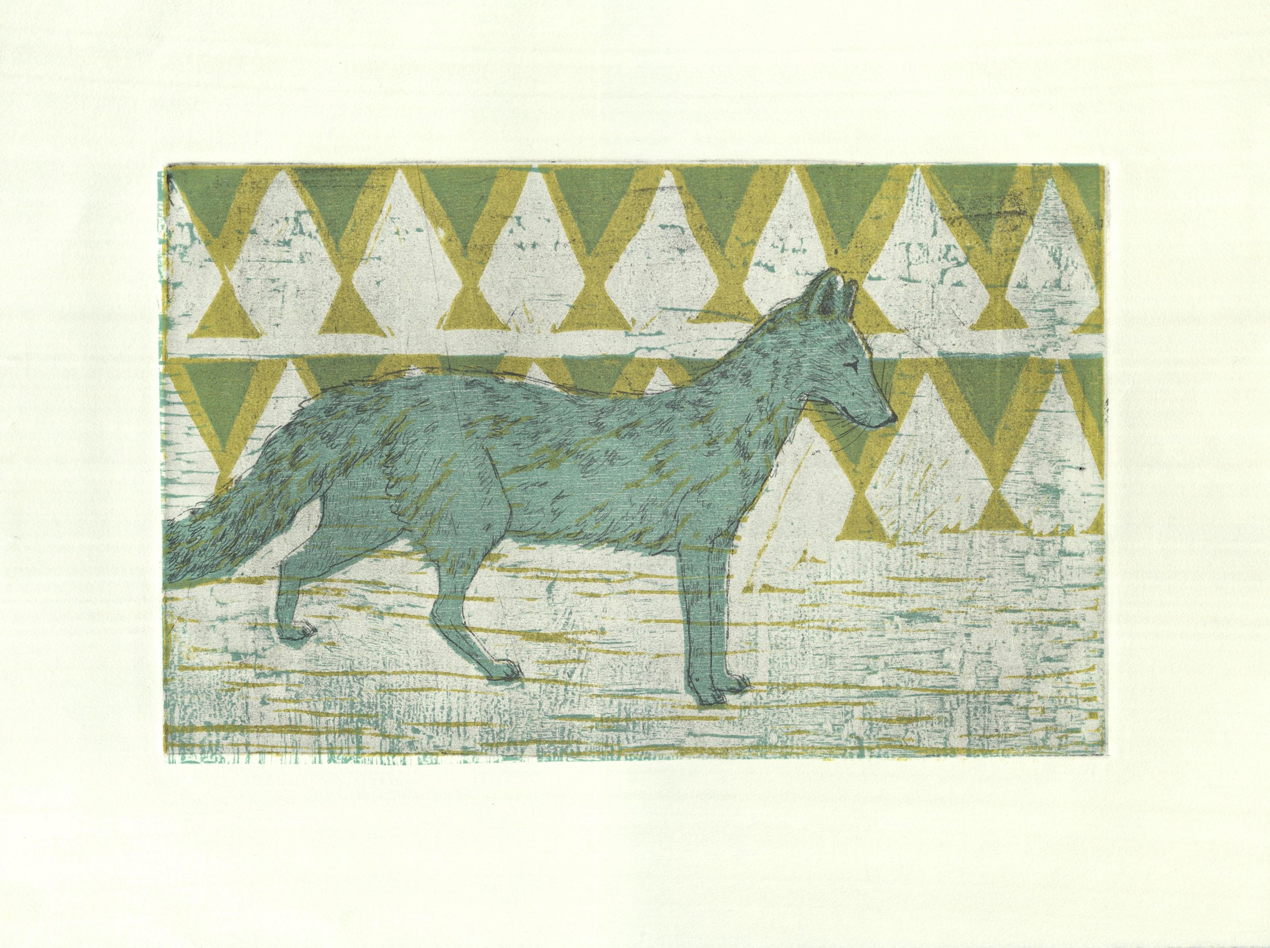 Oaxacan Coyote  etching and woodcut 14.5 x 10.75 inches 2015