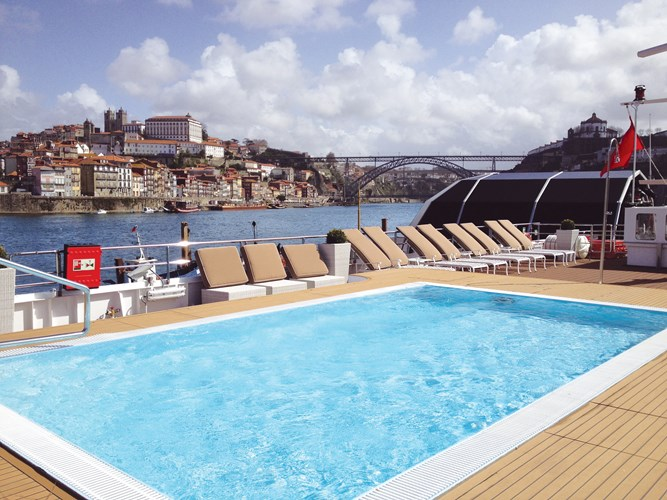 Queen Isabel Pool: Europe- Portugal, Spain and The Duoro River Valley  Photo courtesy of Uniworld Boutique River Cruise Collection