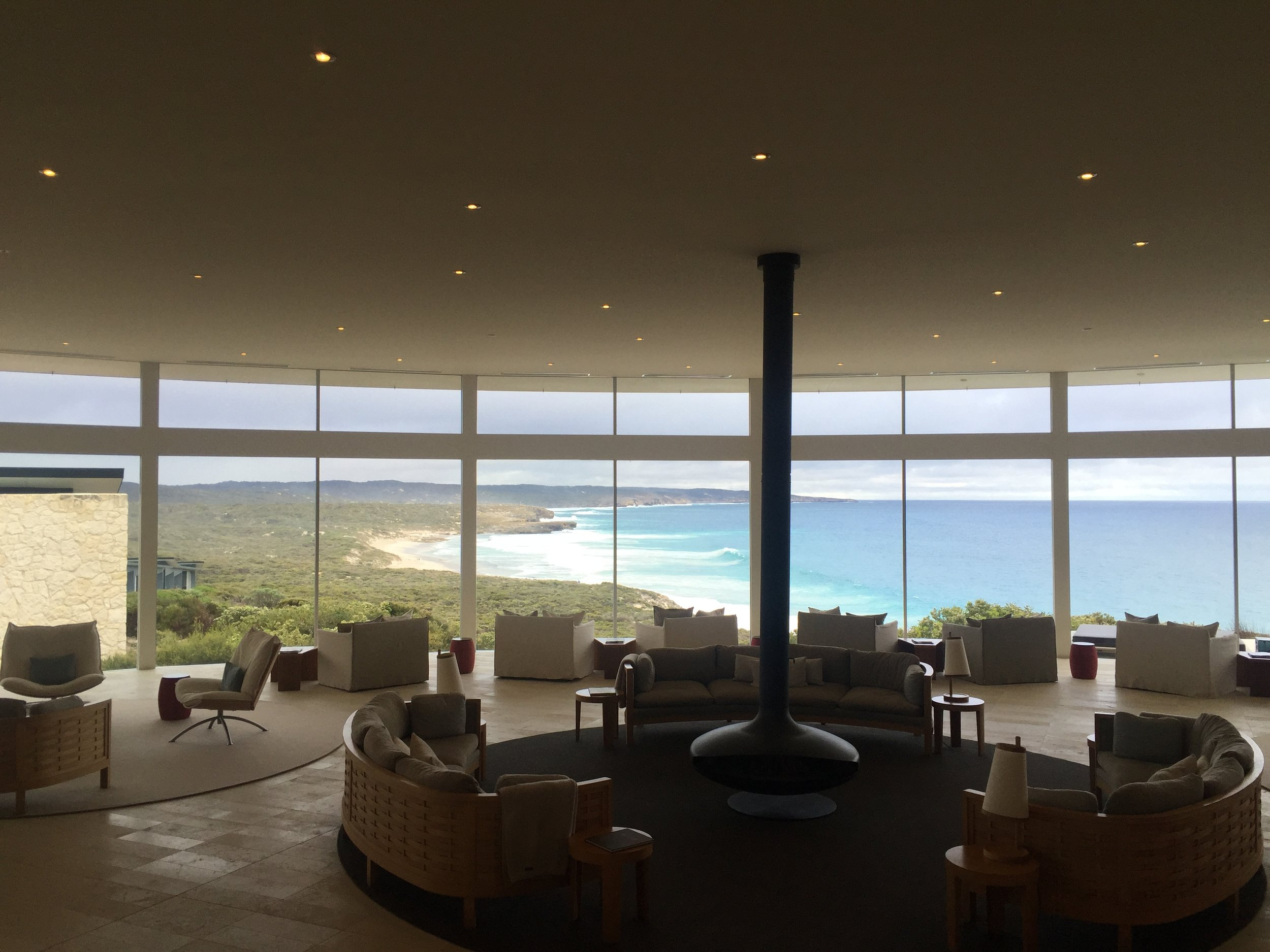 The   Southern Ocean Lodge  ; a sanctuary of sophistication and comfort, with panoramic views,  built on a cliff above the pounding surf. Iconic. And sprinkled with the art of the über talented   Janine Mackintosh  .