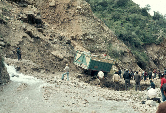 The road had washed out due to a mudslide.
