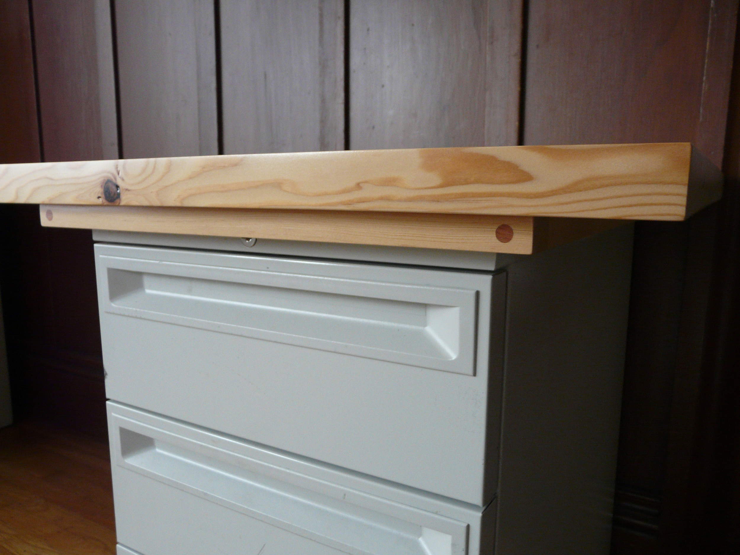 Made a frame to capture the filing cabinet top