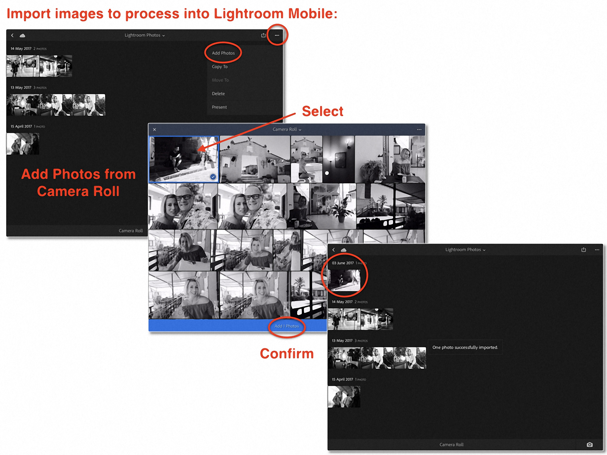 Importing your images into Lightroom Mobile ...