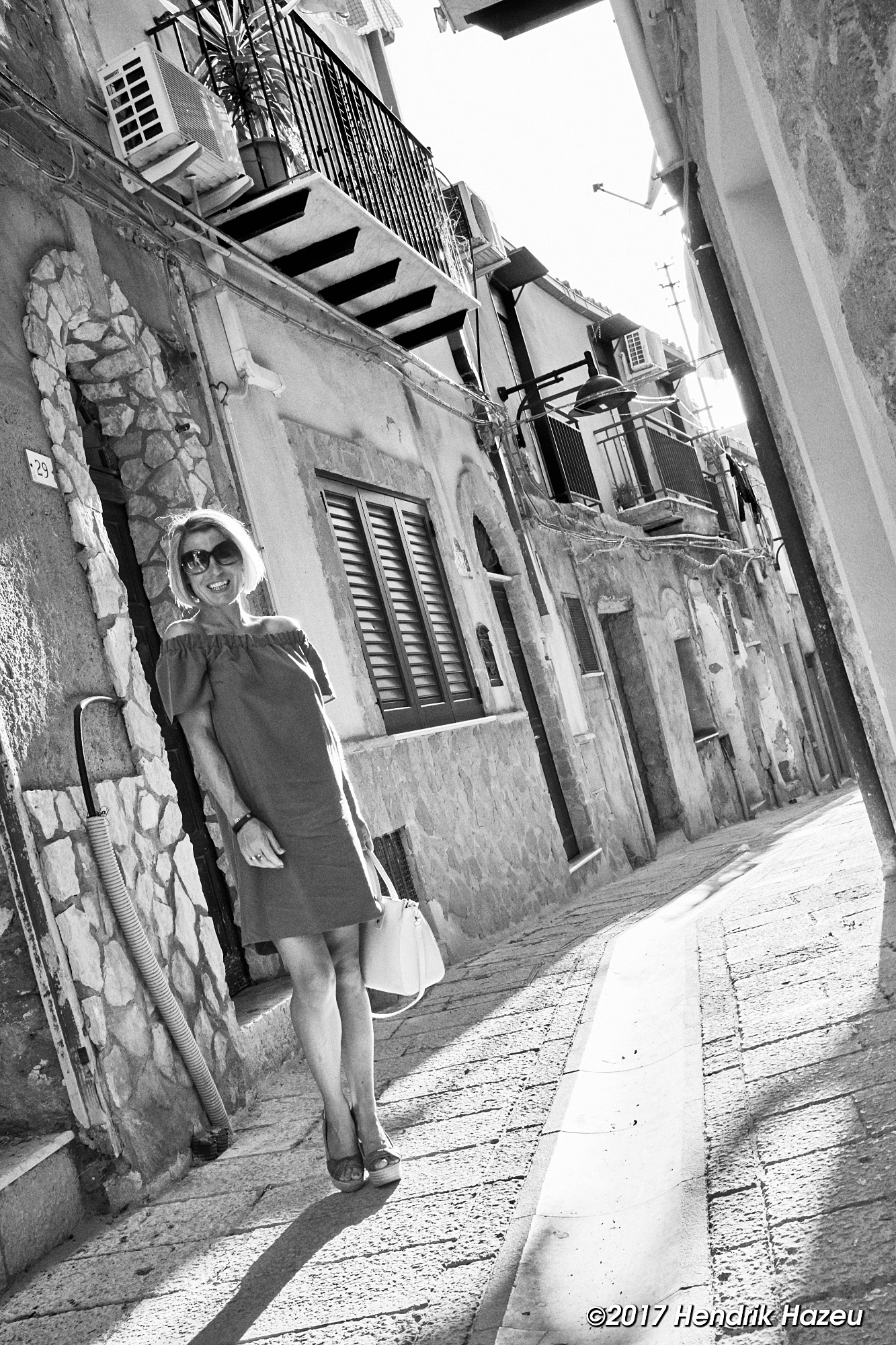 Italian fashion shoot with Fuji X100F, developed in Capture One BW-15 (grey) style