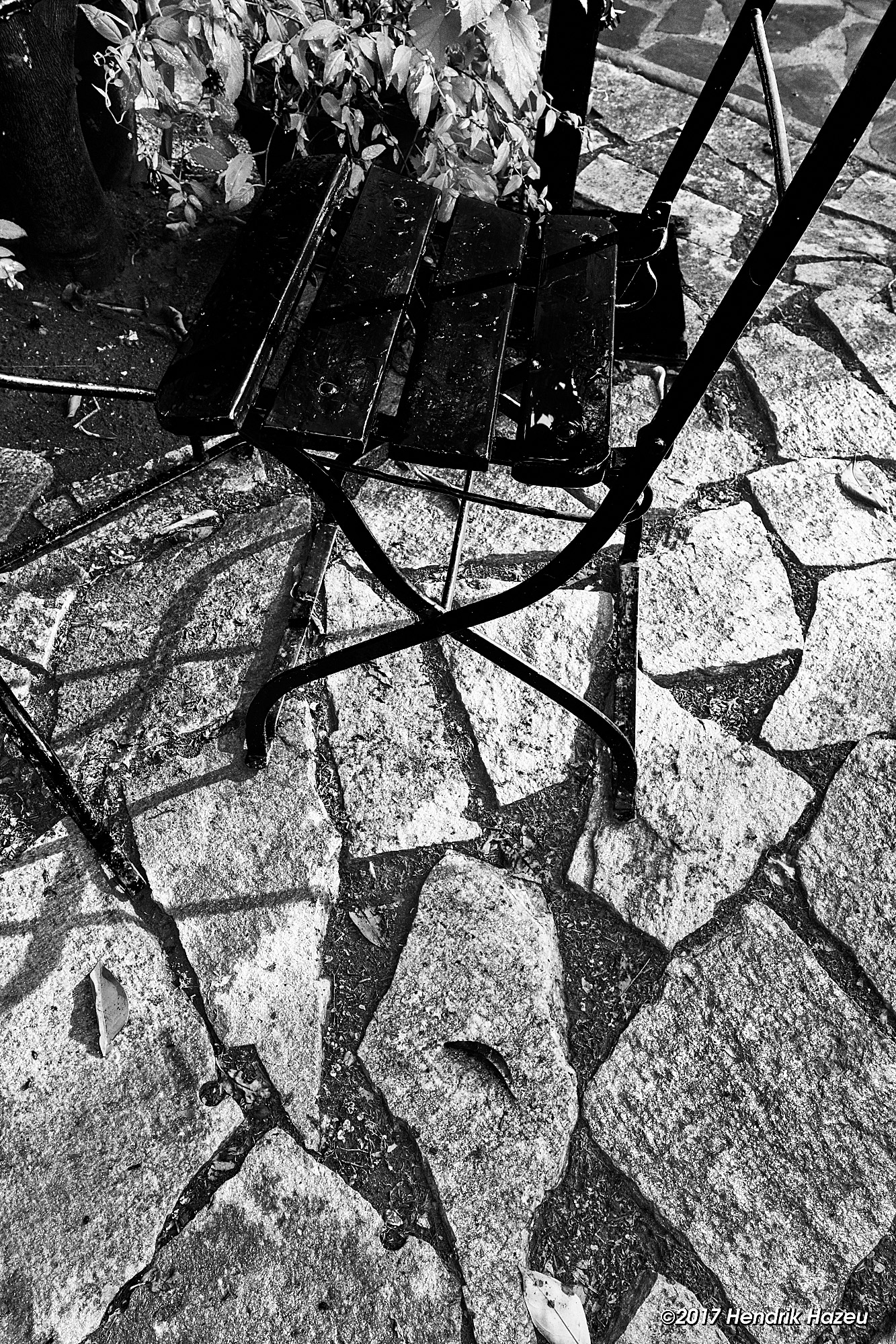 Red Chair on Stone Patio, XF 16-55/2.8 WR @16mm, X-T2, CO 10 with modified BW-15 Style