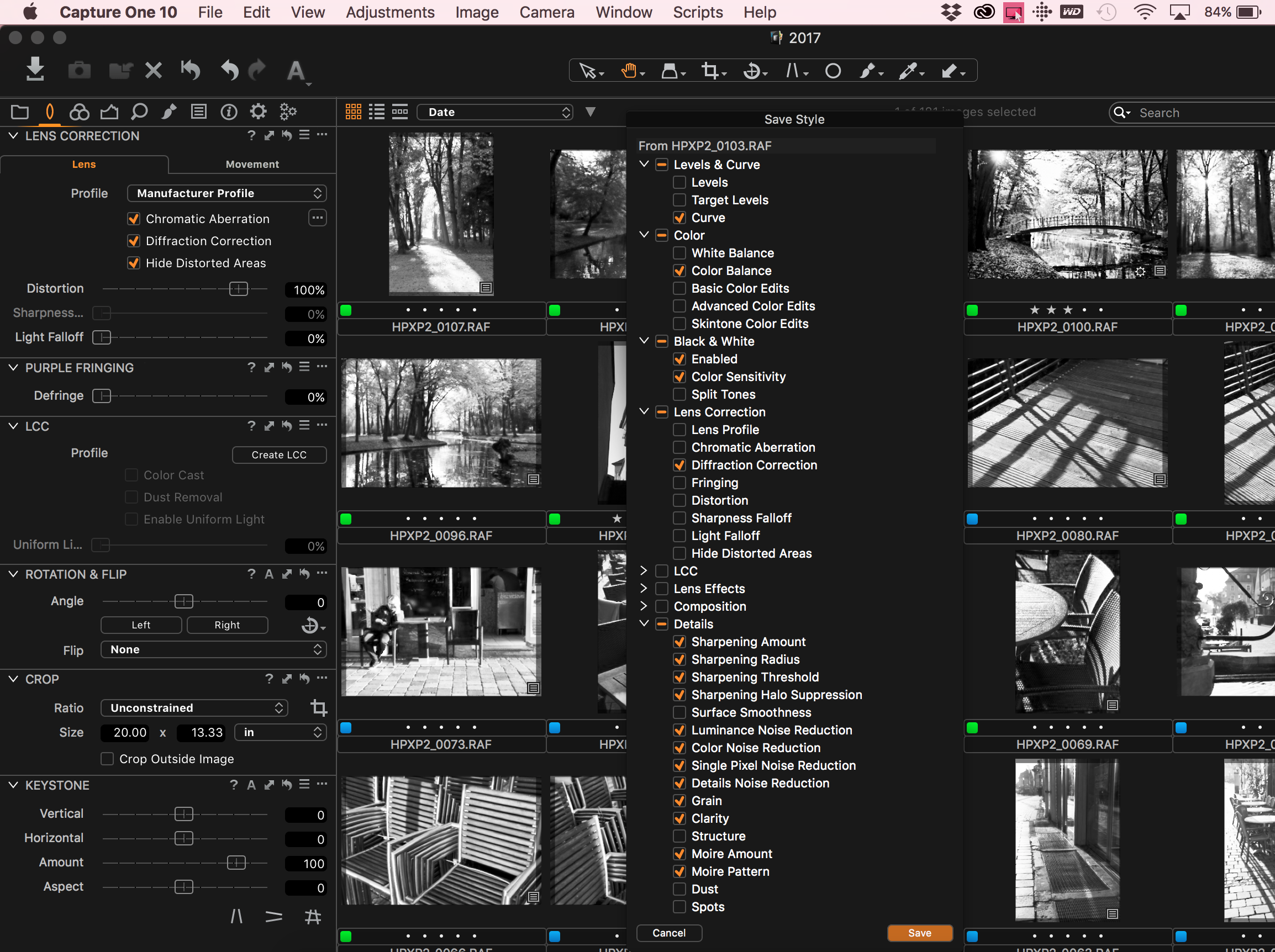 Deselect presets which are image dependent!