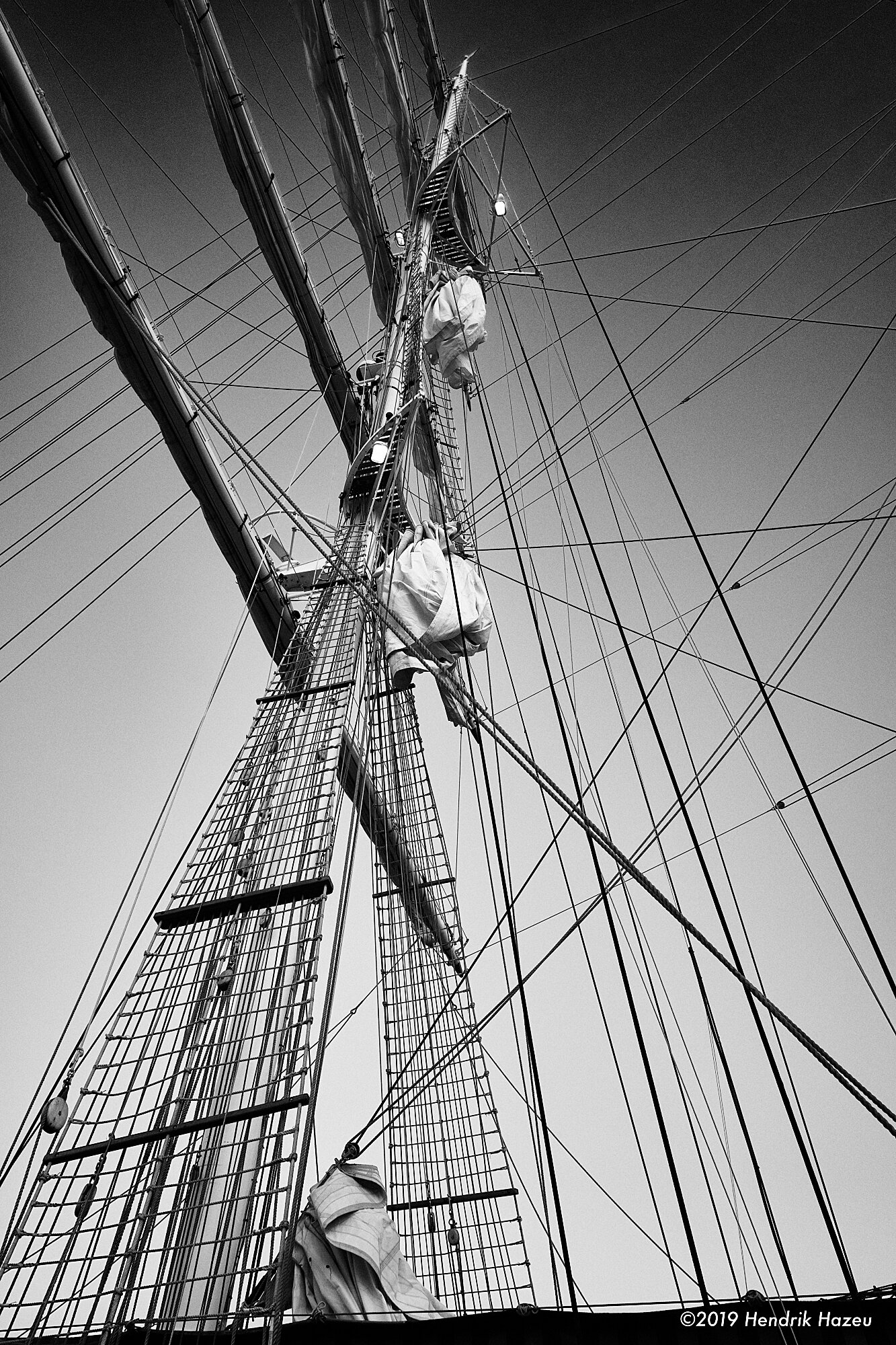 Schooner mast and rigging just before dawn, X-Pro2 & XF 18mm F/2 @F/8, 1/60 sec, ISO 200