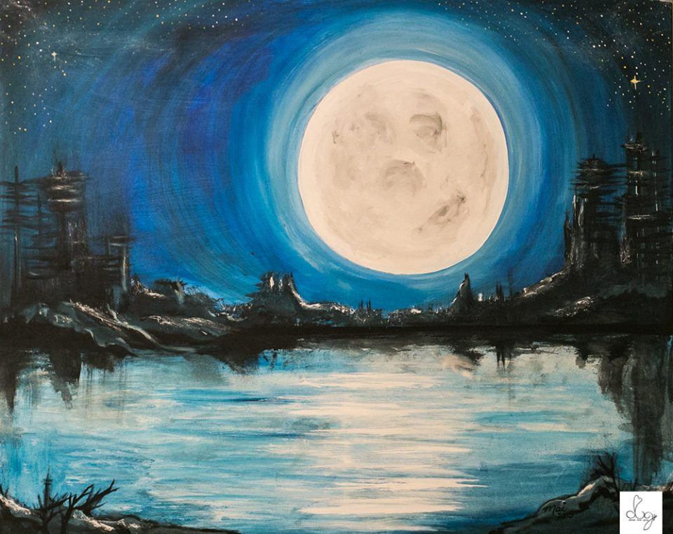 "Once in a Blue Moon Acrylic on Raw Canvas 24"" x  36"" Artist: Mai"
