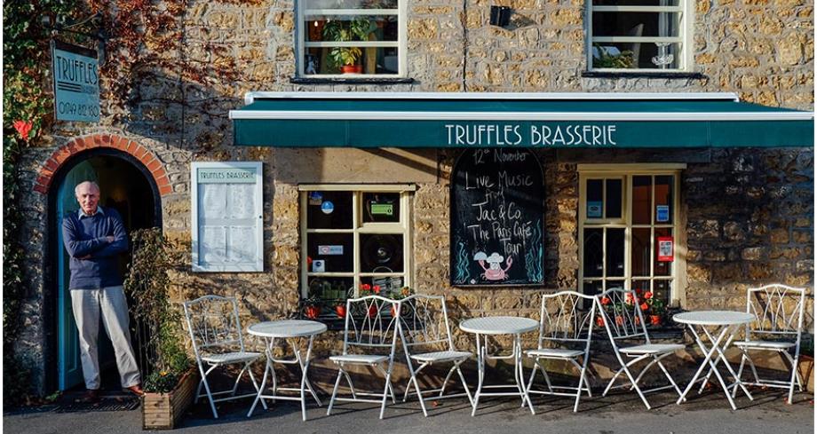 Richard outside Truffles Brasserie, Bruton