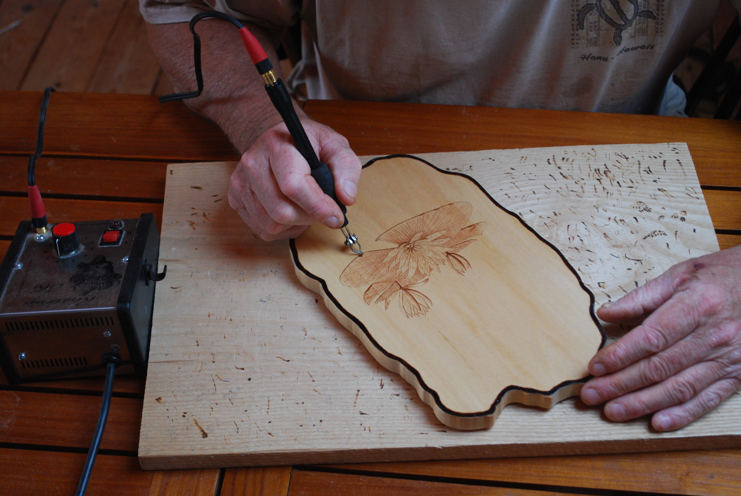Hand drawn and hand burning on wood and paper.